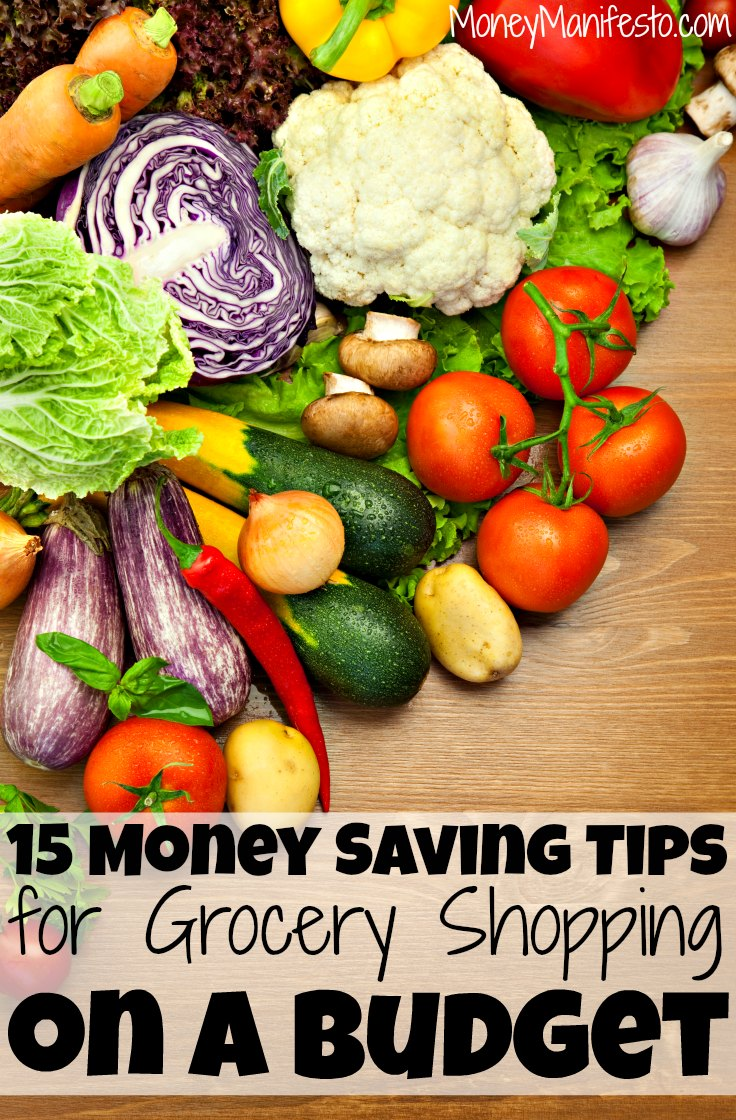 Grocery shopping can be expensive. If your grocery budget is out of control, you'll want to learn these 15 money saving tips for grocery shopping on a budget. These tips could save you over $1,000 per year if you aren't already following them. Find out more today before you make your next grocery list on a budget. (FYI the 6th and 7th tips have saved me the most on my groceries!)